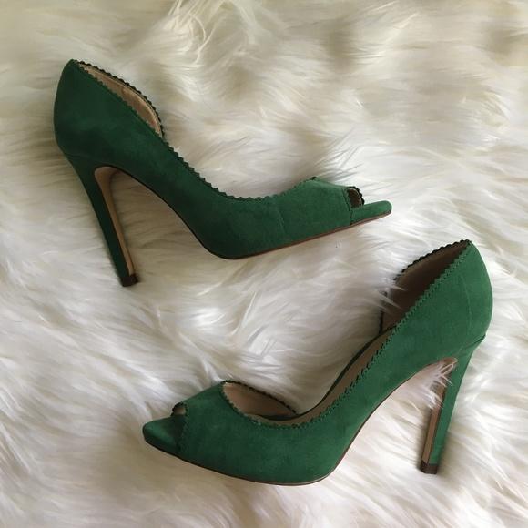 Zara Green Scallop Peep Toe Heel 38